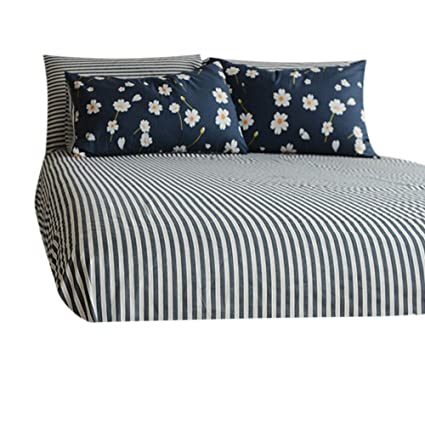 Great FenDie Soft Cotton Deep Pocket Bed Sheet Full Bedding Navy Striped Fitted  Sheet Queen, 15