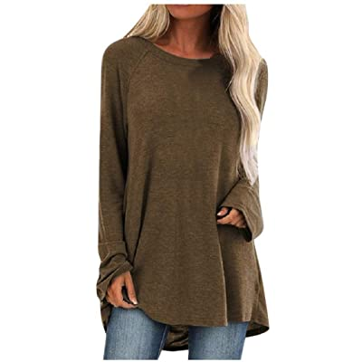 Meikosks Women's Plus Size T Shirt Solid Long Sleeve Tops Loose Classic Fit Blouses Pullover: Clothing