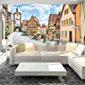 Amazhen 3D Country Style Wall Mural Countryside Street and Houses Wallpaper Bedding Room TV Background Customized Wall Paper Mural