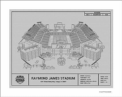 Amazon Com Tampa Bay Buccaneers Raymond James Stadium Blueprint Art