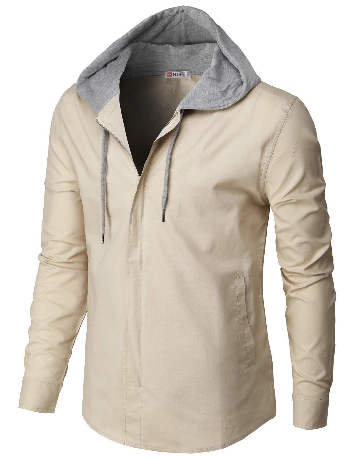 H2H Mens Casual Hoodie Jackets Long Sleeve Zip-up Outerwear Beige US S/Asia M (CMOJA116) by H2H