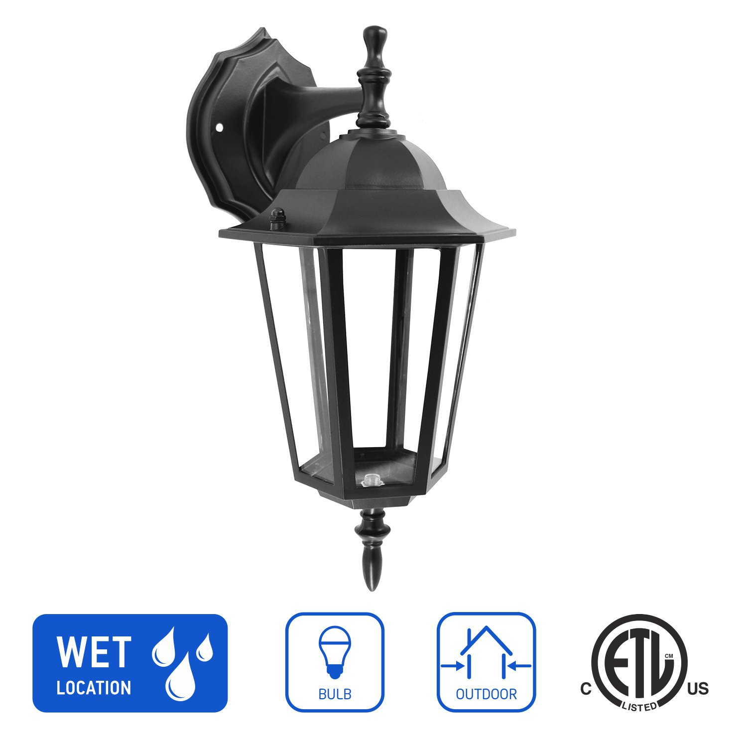 in Home 1-Light Outdoor Wall Mount Lantern Downward Fixture L01 Series Traditional Design Black Finish, Clear Glass Shade, ETL Listed