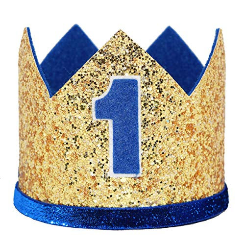 Maticr Glitter Baby Boy First Birthday Crown Number 1 Headband Little Prince Princess Cake Smash Photo Prop (Large Gold & Royal 1) -