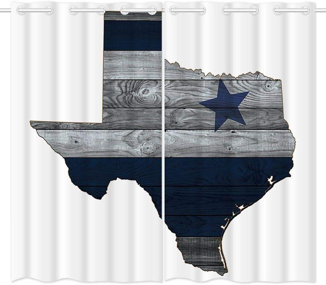 HommomH 42 x 84 inch Curtains (2 Panel) Grommet Top Darkening Blackout Room Dallas Blue Silver Cowboy Star