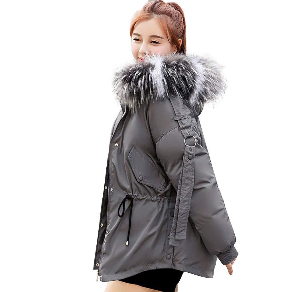 Qianful Womens Casual Hooded Warm Coats Short Fur Collar Lightweight Soft Jacket Winter Outerwear Jackets & Parkas with Pocket by Qianful