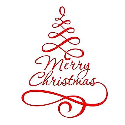 Frasi Albero Di Natale.Adesivo Albero Di Natale Winomo Adesivi Per Vetrofanie Vetrine Finestre Parete Natalizi Con Frasi Merry Christmas In Rosso