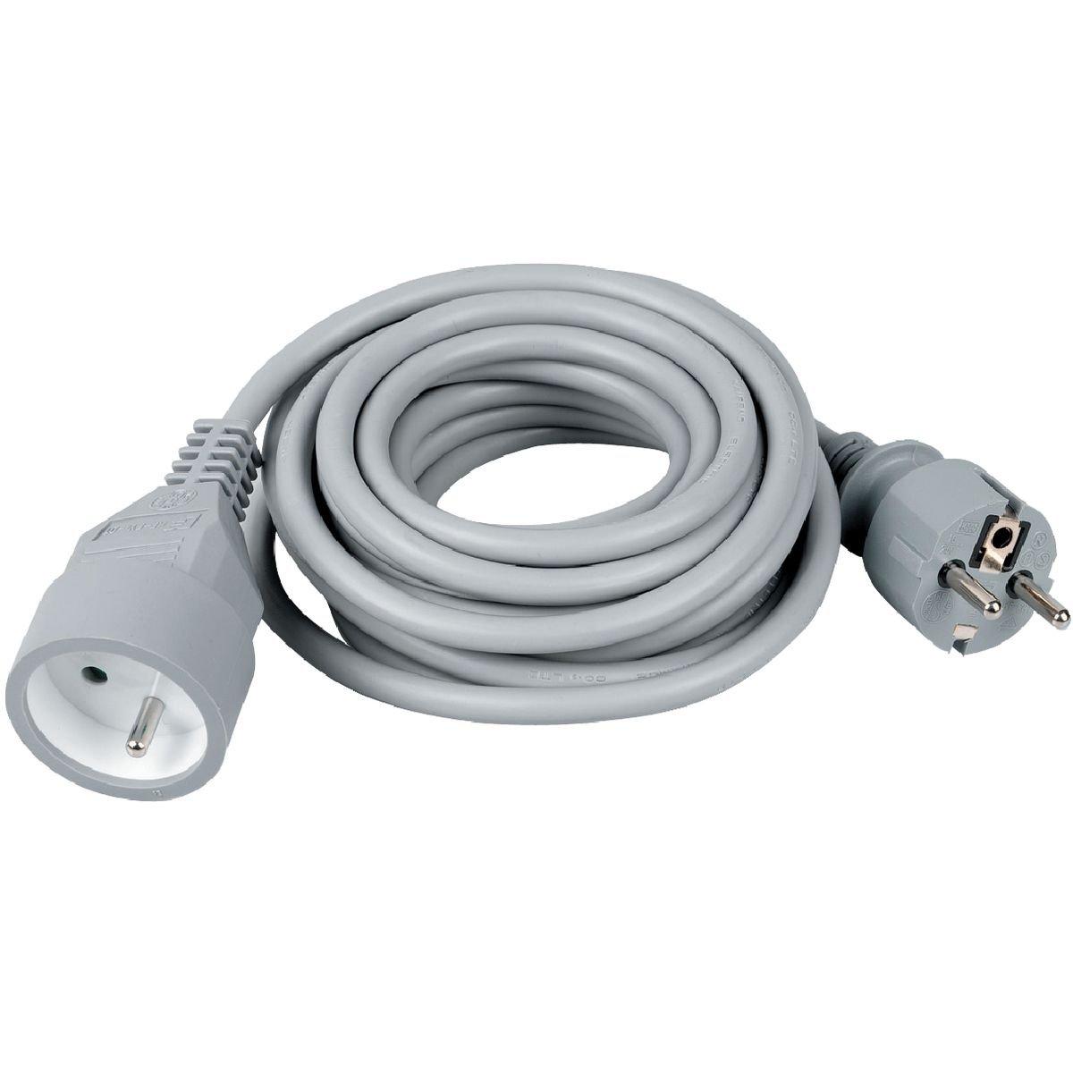 Prolongateur câble souple Dhome - H05 VV-F 3G 1, 5 mm² - Gris - Longueur 5 m 5 mm² - Gris - Longueur 5 m
