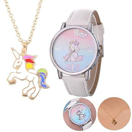 1 juego unicornio collar Relojes Juego de regalo de cuero informal unicornio lindo banda relojes de