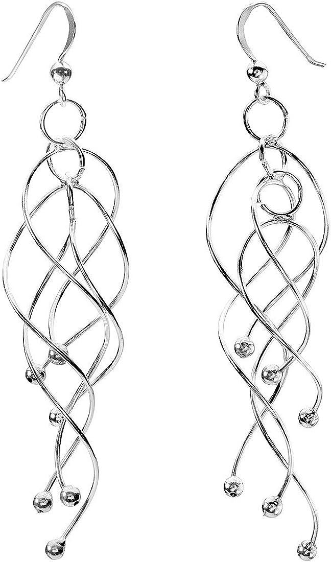 Echt 925 Sterling Silber Ohrringe Ohrhänger Spirale  Hochzeit Nr 331