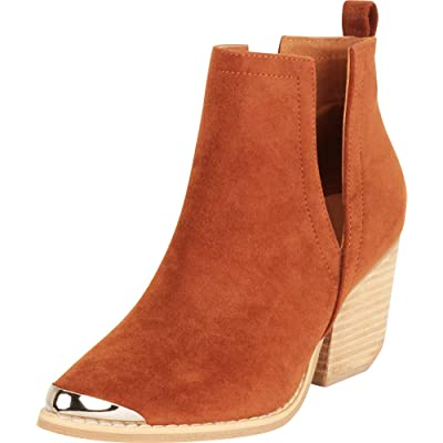 Cambridge Select Women's Western Pointed Tipped Toe Side V Cutout Chunky Block Mid Heel Ankle Bootie, 8.5 B(M) US, Whiskey IMSU | Ankle & Bootie