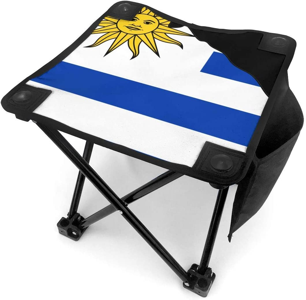 Taburete de camping Sun of Uruguay Flag Map Small Camping Stool Fishing Travel Outdoor Folding Stool Portable Oxford Cloth Slacker Stool with Side Pocket for Camping Walking Hunting Hiking Picnic Gar: Amazon.es: