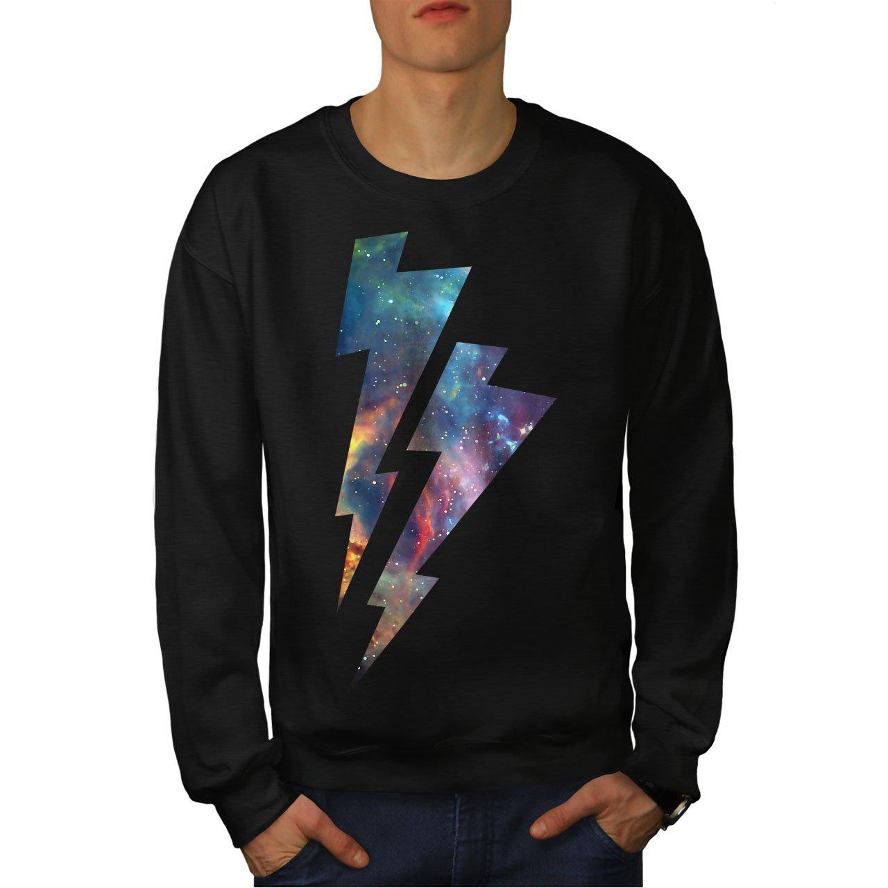 wellcoda Space Thunder Mens Sweatshirt Lightning Casual Jumper