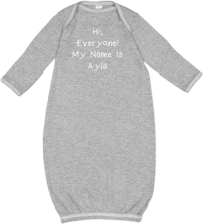 Mashed Clothing Hi Everyone My Name is Ayla Personalized Name Baby Cotton Sleeper Gown