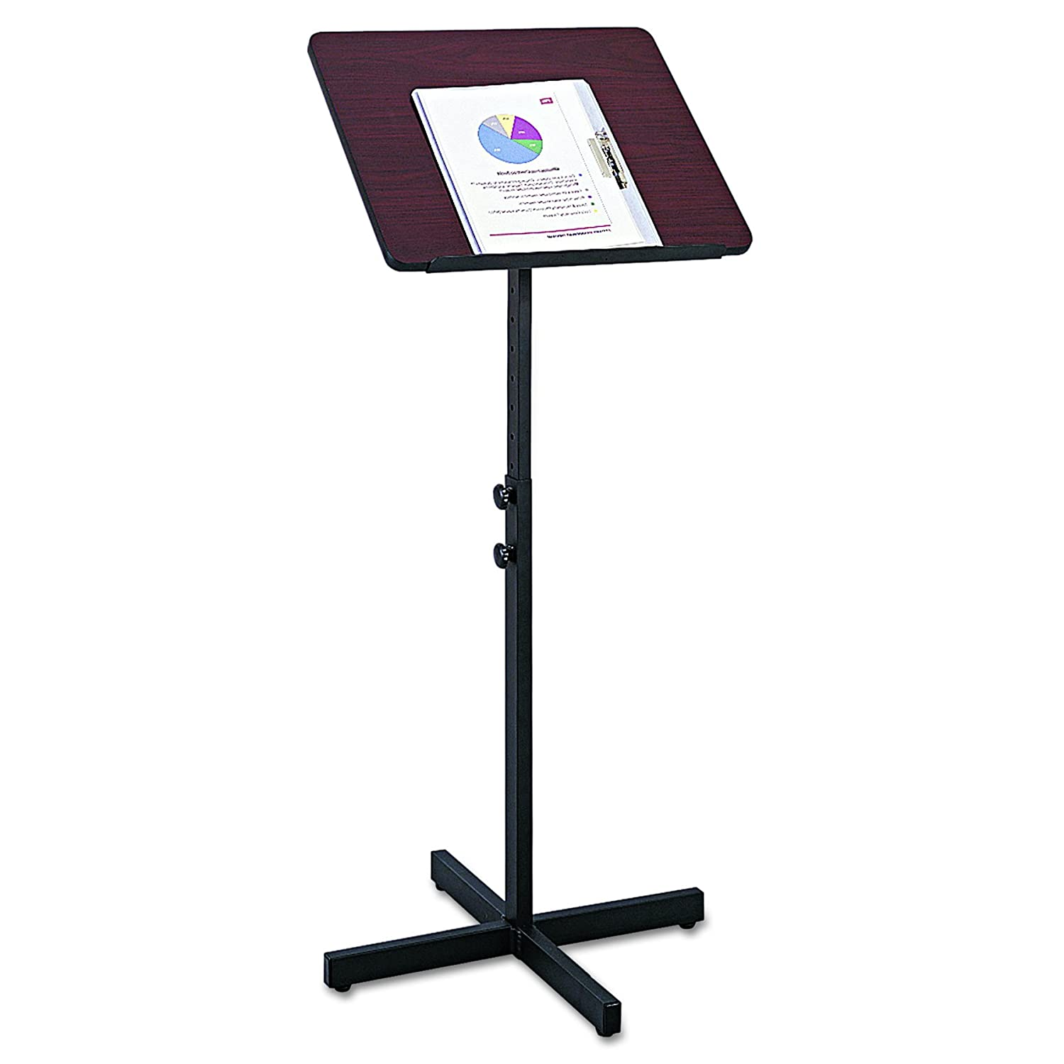 Safco Products Adjustable Speaker Stand Mahogany, 8921MH