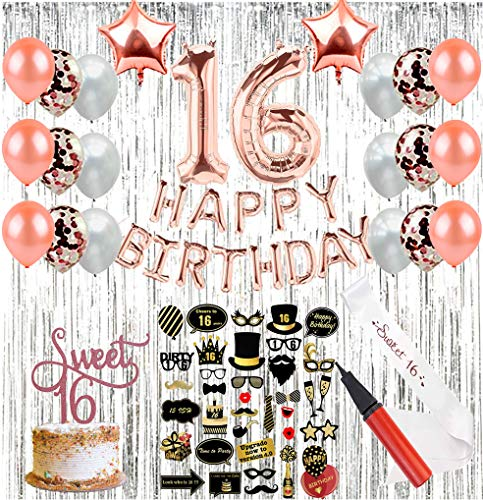 Sweet 16 Party Supplies (64 Pieces) | 16th Birthday Party Supplies | Decorations with Sweet Sixteen Sash, Photo Booth Props, Balloon Pump, Photo Backdrop, Rose Gold Number Balloons & Cake Topper ()