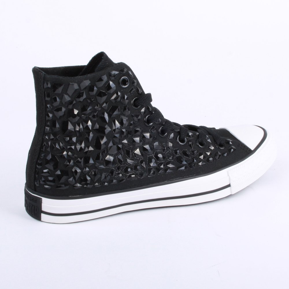 3ee4c5f1a4c2 Converse Chuck Taylor All Star Rhinestone Hi 540230C Womens Laced Canvas  Trainers Black - 8  Amazon.co.uk  Shoes   Bags