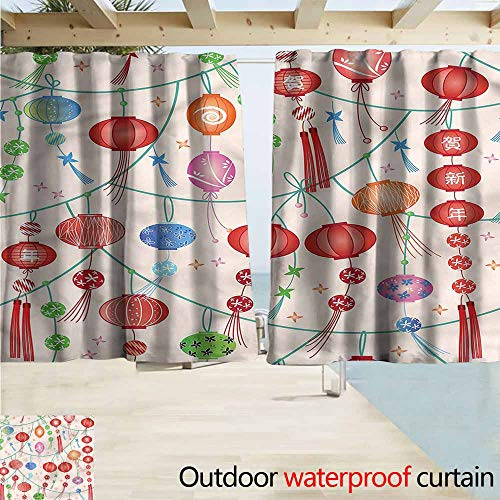 - MaryMunger Outdoor Patio Curtains Lantern Chinese Celebration Theme Simple Stylish Waterproof W55x63L Inches