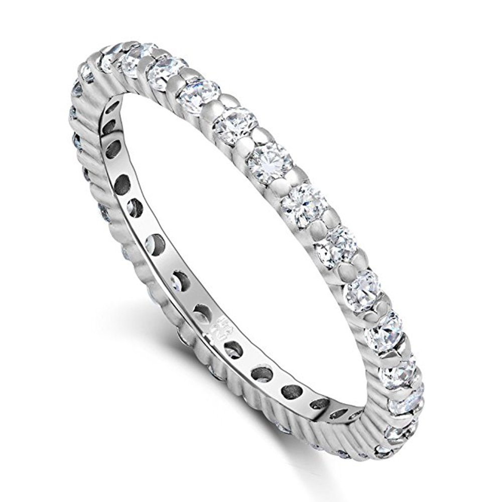 CZ Paved Stackable Eternity Ring Diamond Wedding Band in Silver Size 6