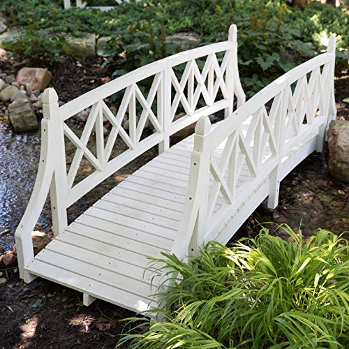 Shabby Country Cottage 8 Foot White Wood Garden Bridge Outdoor Landscape Decoration Yard Lawn Decor Structure