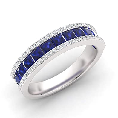 69bd77ed1e3b Diamondere Natural and Certified Princess Cut Blue Sapphire and Diamond  Wedding Ring in 14K White Gold