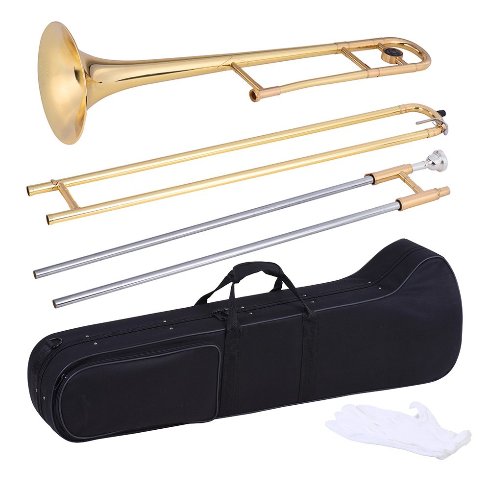 ammoon Tenor Trombone Brass Gold Lacquer Bb Tone B flat Wind Instrument with Cupronickel Mouthpiece Cleaning Stick Case by ammoon (Image #3)