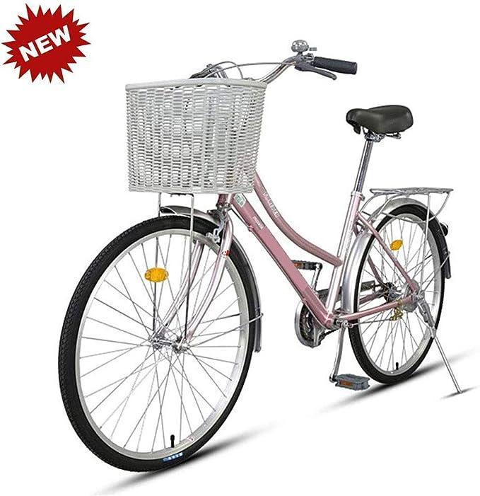 Bicicleta 26 pulgadas adulto aleación de aluminio macho y hembra estudiantes de una sola velocidad retro de viaje bicicleta rosa HRTT: Amazon.es: Hogar