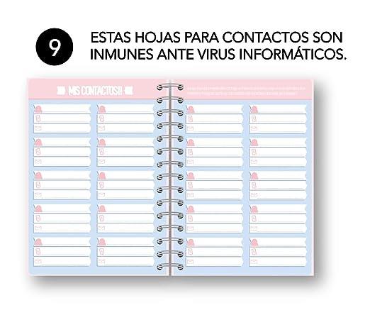 AGENDA ANUAL DÍA PÁGINA CON 200 NOTAS ADHESIVAS+ 260 PEGATINAS + REGLA/MARCA PÁGINAS + LLAVERO CON LA FRASE: