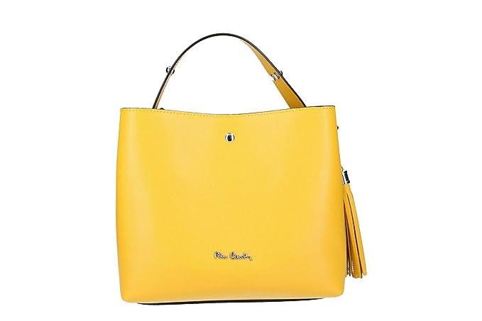 7fa6e74326 Borsa donna mano con tracolla PIERRE CARDIN gialla in pelle Made in Italy  N1016: Amazon.it: Abbigliamento