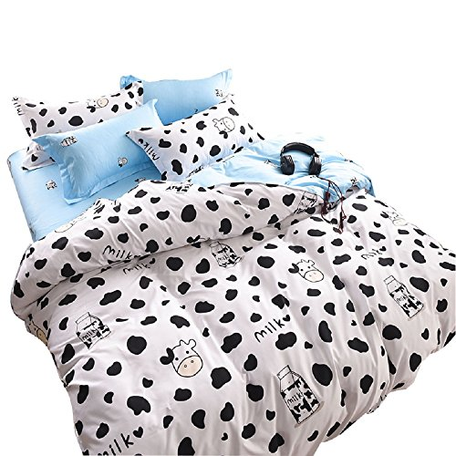 YOUSA Black and White Bedding Cartoon Milk Cow Bedding Set Twin,4Pcs ()