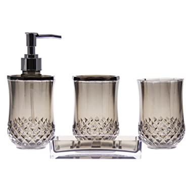 JustNile 4-Piece Bathroom Accessories Set - includes Tumbler, Toothbrush Holder, Lotion Dispenser and Soap Dish- Modern and Contemporary Design