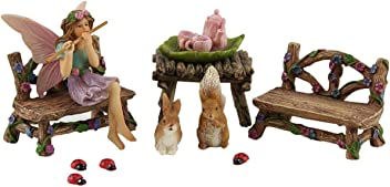 Pretmanns Fairy Garden Fairy Accessories – Miniature Fairy Figurine & Furniture – 14 Piece Starter Kit