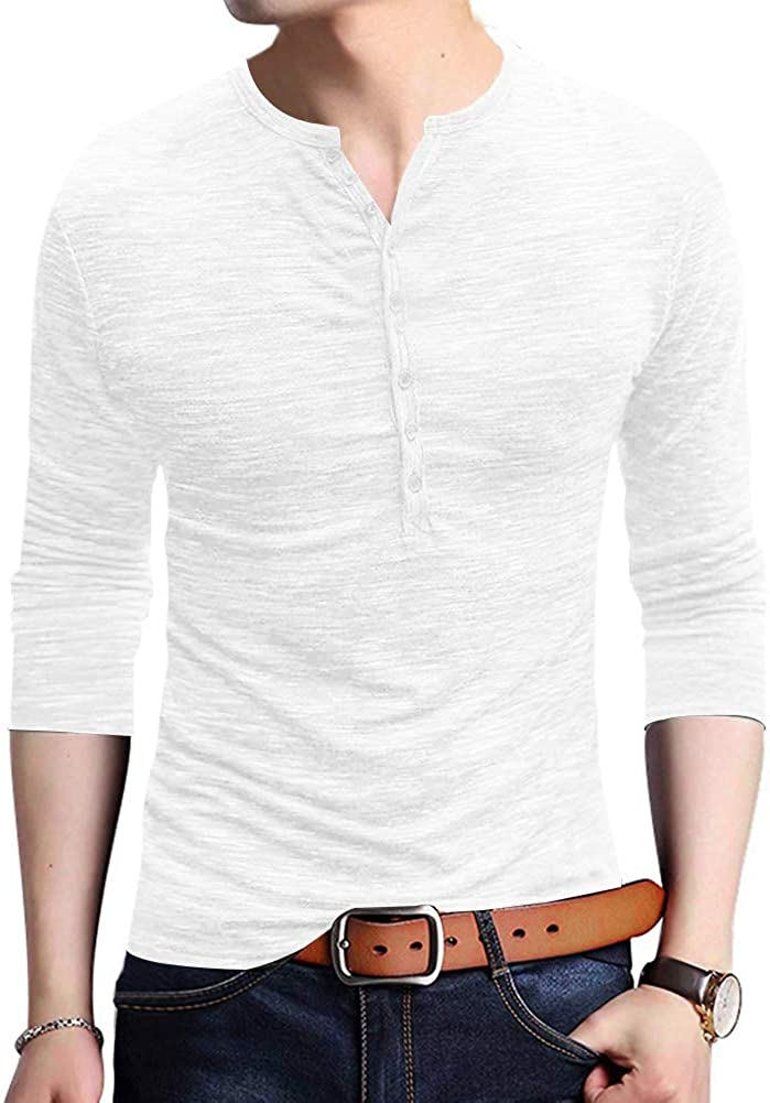 JXClothing Men Cotton Slim Fit Solid Henley T-Shirt Polo Short Sleeve Button Placket Neck