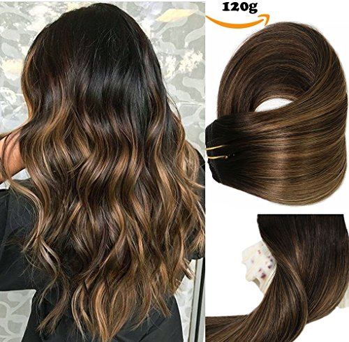 Clip In Human Hair Extensions Thicken Double Weft 8A Brazilian Hair 120g 7pcs Natural Black to Chestnut Brown Highlight Black Full Head Silky Straight 100% Human Hair Clip In Extensions ()
