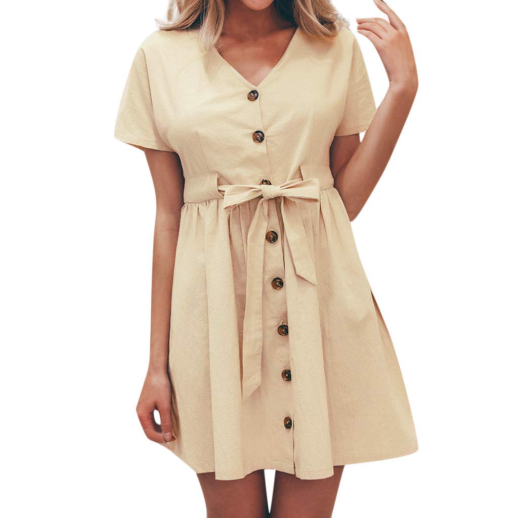 Casual Dress for Women Short Sleeve Solid Button Down Bandage Pleated Flowy Hem Summer Dresses (S, Beige)