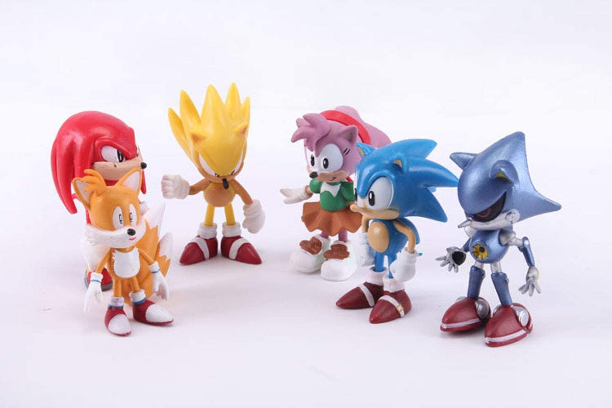 6 pcs Sonic The Hedgehog 1.8-2.8In Tall Mini Toys for Kids Cupcake Cake Toppers Party Favor Decoration