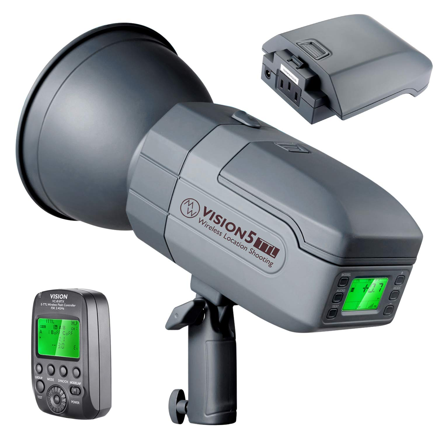 Neewer Vision5 400W TTL for NIKON HSS Outdoor Studio Flash Strobe with 2.4G System and Wireless Trigger,2 Packs Li-ion Battery(up to 500 Full Power Flashes),German Engineered,3.96 Pounds,Bowens Mount by Neewer