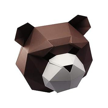 Lveing Máscara de Papel 3D para Halloween, diseño de Cabeza de Animal, Juguetes para Adultos y niños, BearWhite, Kids: Amazon.es: Deportes y aire libre