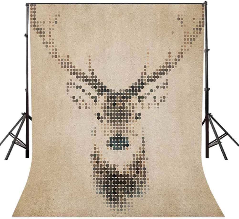 7x10 FT Deer Vinyl Photography Background Backdrops,Retro Style Deer Portrait with Digital Dots and Geometric Circle Vintage Graphic Background Newborn Baby Portrait Photo Studio Photobooth Props