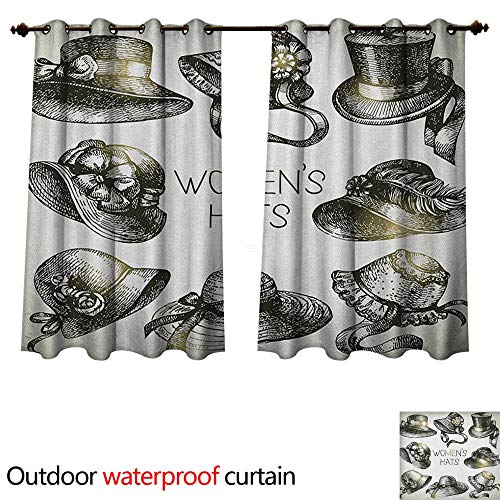 Anshesix Victorian Home Patio Outdoor Curtain Collection of Vintage Woman Hats and Retro Fashion Catalogue Female Old Image Art W63 x L63(160cm x 160cm)