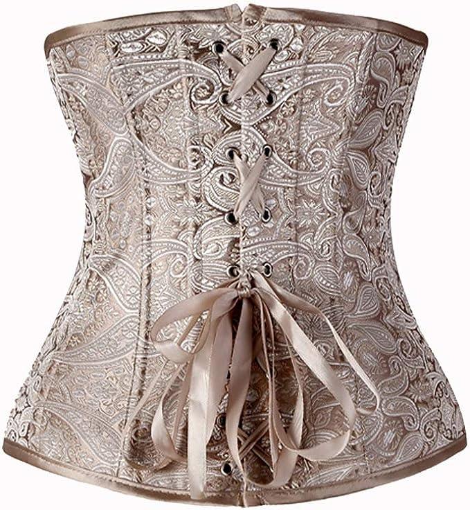 Bslingerie/® Womens Vintage Floral Brocade Satin Underbust Corset Clincher Cinchers