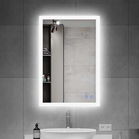 Amazon Com Okiss Led Bathroom Mirror 28x20inch Lighted Bathroom Vanity Mirror With Smart Touch Control Brightness Anti Fog Dimmable Mirror Horizontal Vertical 2 Ways To Use 3 Color Tones Kitchen Dining