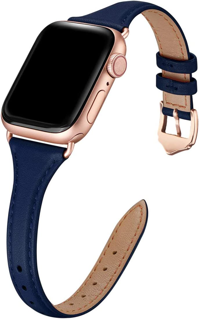 WFEAGL Leather Bands Compatible with Apple Watch 38mm 40mm, Top Grain Leather Band Slim & Thin Replacement Wristband for iWatch SE & Series 6/5/4/3/2/1 (Indigo Band+Rose Gold Adapter, 38mm 40mm)