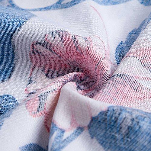 Lover Vintage Azul Volante Estampado Cocktail Floral 4XL S Falda Print Verano Vestido Sin Corto Mujer Hepburn Manga Cuello Redondo Beauty Floral zrH1xz