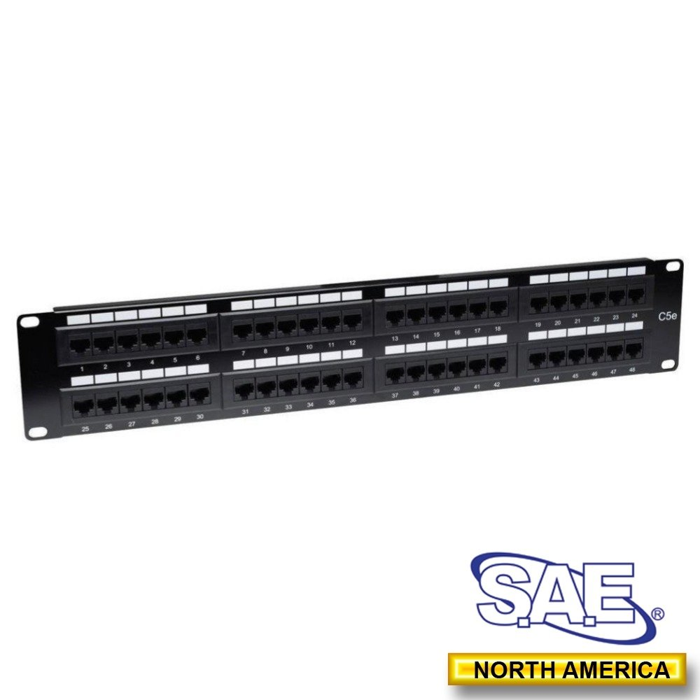 SAE 48-Port Rack mount Patch Panel Cat5e 110 IDC, 2U with Back Bar[Ship from Canada by AVS- Audio Video Solutions] SAE48CAT5