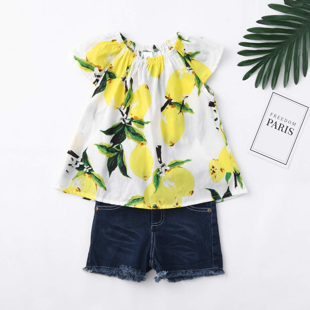 2019 Baby Girl Outfits, 2-Peice Toddler Kids Fruits Lemon Print Tops Shirt +Hole Denim Jean Shorts Clothes Sets (2-3 Years, Yellow) by Hopwin Baby girls Suits (Image #3)