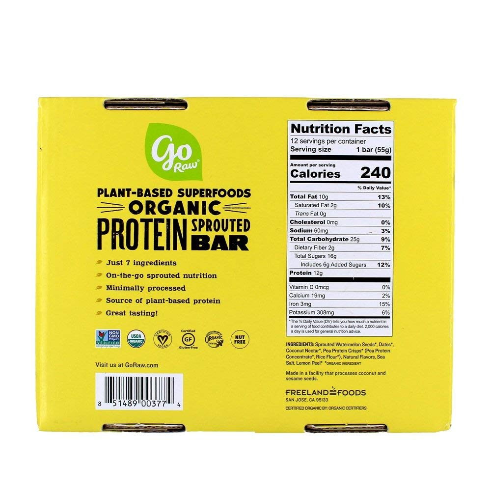 Go Raw – Organic Plant Protein Sprouted Bars Box Zesty Lemon – 12 Bars