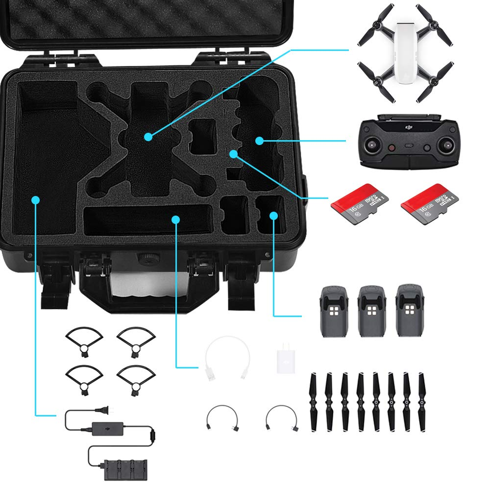 Lekufee Carrying Case Compatible for DJI Spark, Waterproof Hard Portable Case Holds 4 Batteries and DJI Spark Fly More Kits by Lekufee (Image #2)