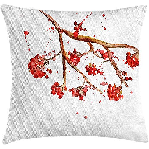 Changpeng Rowan Throw Pillow Cushion Cover, Rowan Berry Branch with Watercolor Splashes Artistic Floral Abstract Display, Decor Square Zipper Pillow Case 18 X 18 inches, Red Brown White