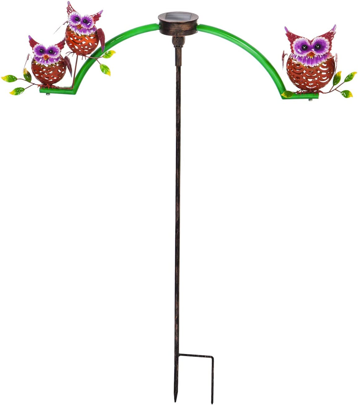 Evergreen Garden Beautiful Owl Chasing White Light Solar Balancer Garden Stake - 30 x 3 x 35 Inches Fade and Weather Resistant Outdoor Decoration for Homes, Yards and Gardens