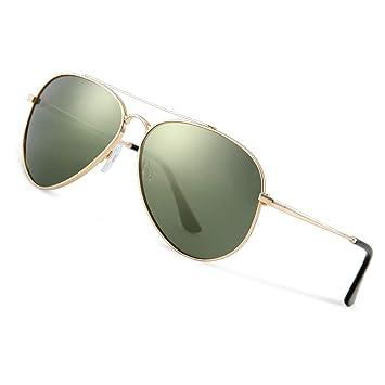 Avoalre Gafas de Sol Aviador Gafas Polarizadas Hombre Verde Redondo de Moda de Estilo Espejo Grande UV400 Marco Inoxidable Lente TAC PL Super Cómodas